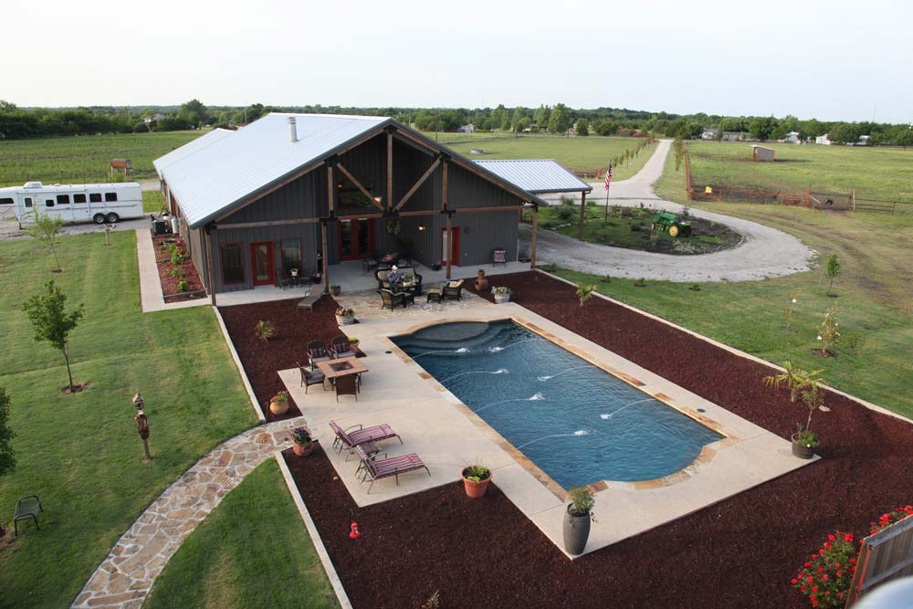 Full metal building home with epic pool stable 10 hq for Building a house in oklahoma