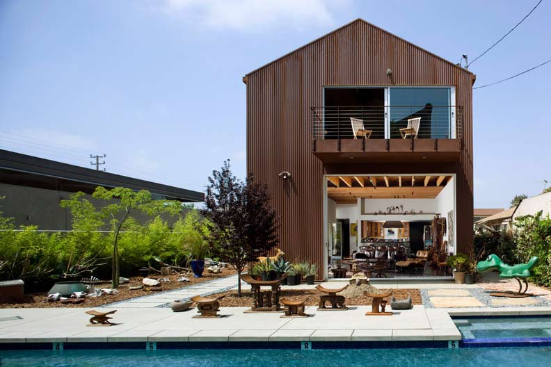 Backyard with swimming pool and playground