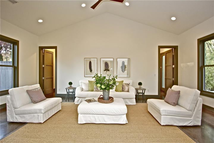 A focused shot of the upscale living room