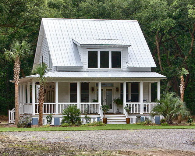 Medium sized custom farmhouse w wrap around porch 7 hq for Metal houses