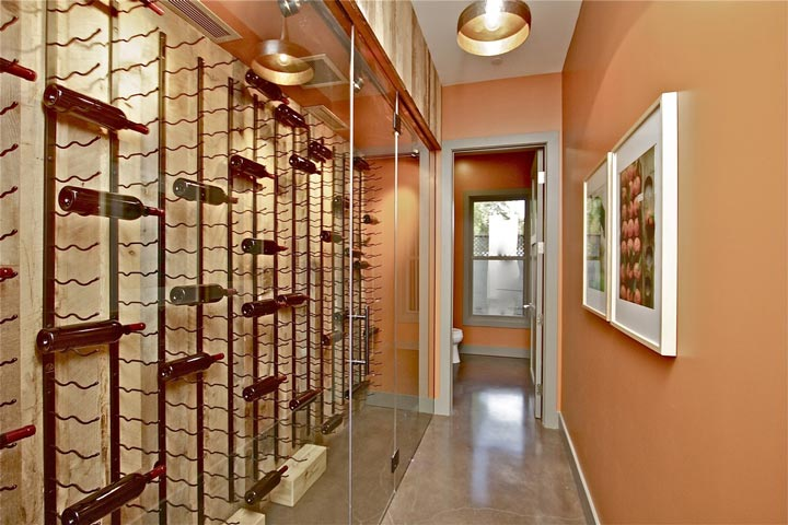 Beautifully arranged glass wine storage