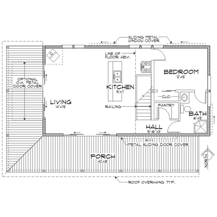 Cosy Metal Building Cabin w Wrap Around Porch HQ Plans Pictures