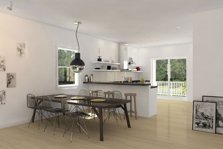 The open dining area and kitchen