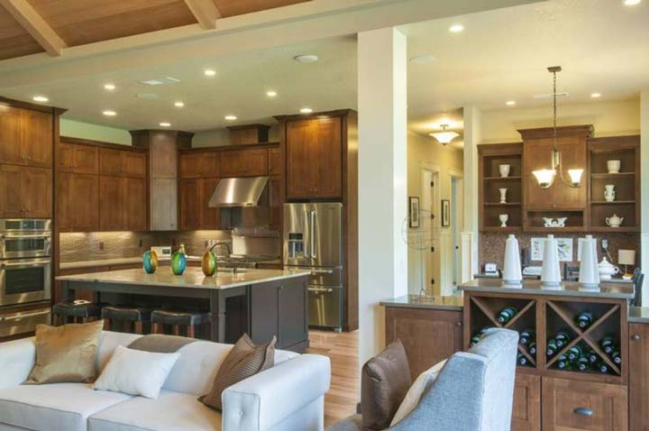 Kitchen with island as breakfast table