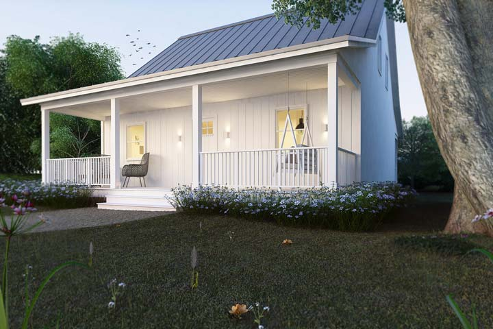 Steel frame ready cottage house for comfy living hq plans for Small metal house plans
