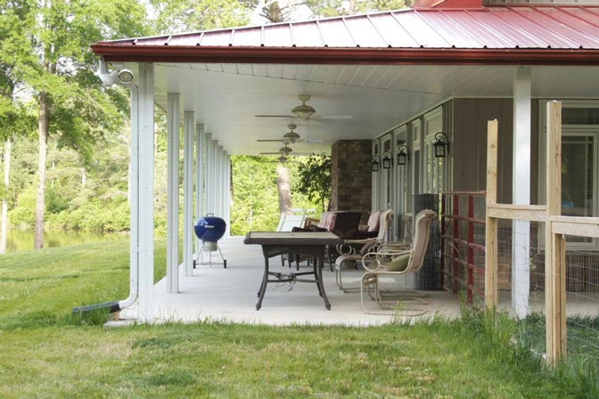 Metal building home w awesome wrap around porch hq plans for Barn house plans with porches