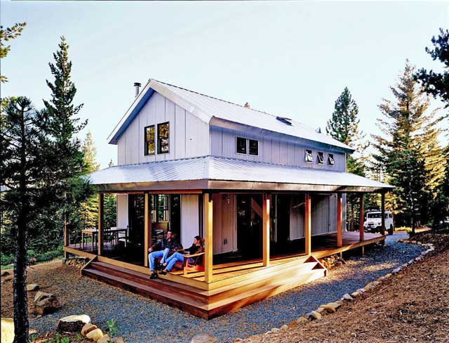 Cosy metal building cabin w wrap around porch plans for Metal houses