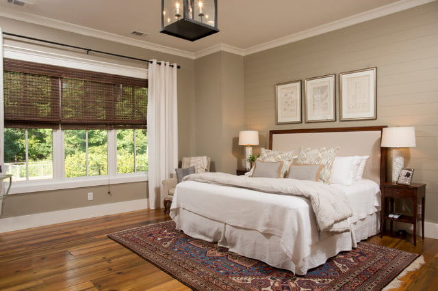 Neutral shades create a peaceful feel to the whole bed space.