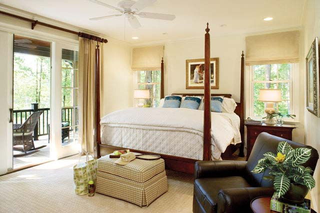 Spacious master's bedroom with a balcony