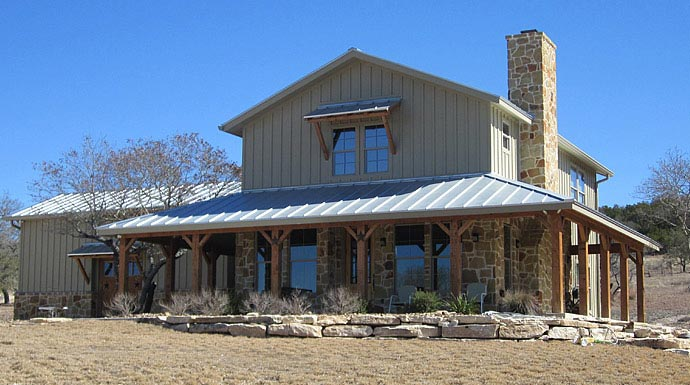 Lovely ranch home w wrap around porch in texas hq plans for Two story metal building homes