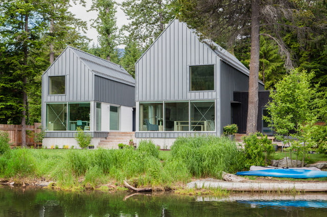 Spacious lakeside metal houses w cosy wooden interior 9 for Beautiful metal building homes