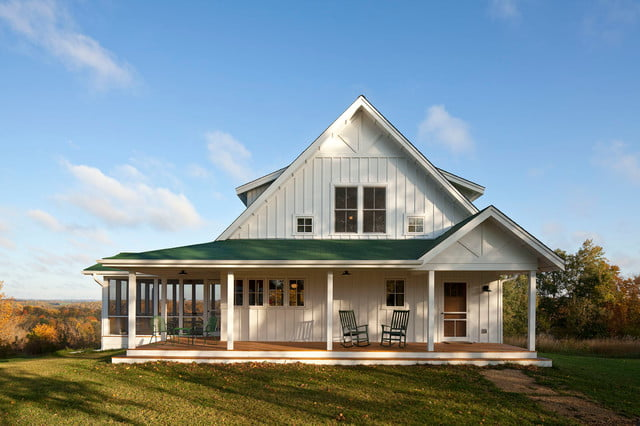 Unique farmhouse for mid size family w porch hq plans for Farmhouse building plans photos