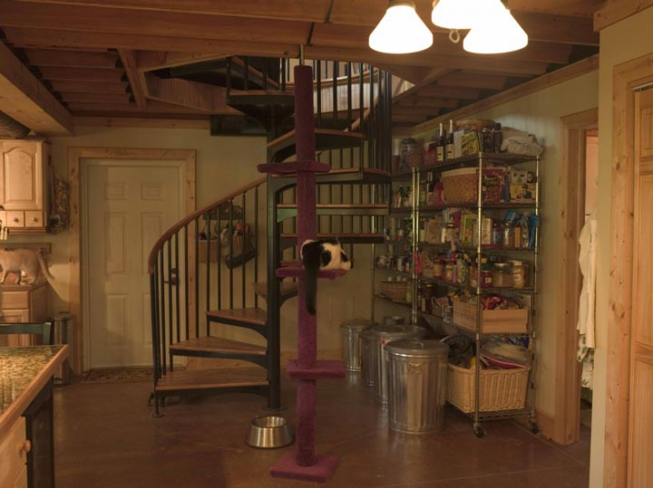 Spiral stairs and a stack of supplies