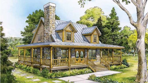 Beautiful country home w wrap around porch hq plans for Country house with wrap around porch