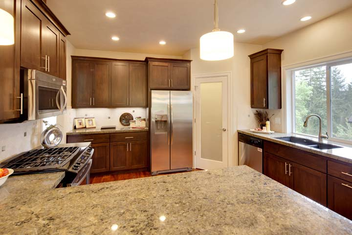 The kitchen has its own step-in pantry and work island
