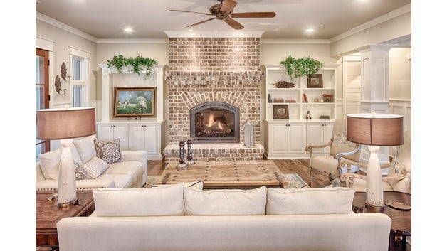 Living room with its fireplace