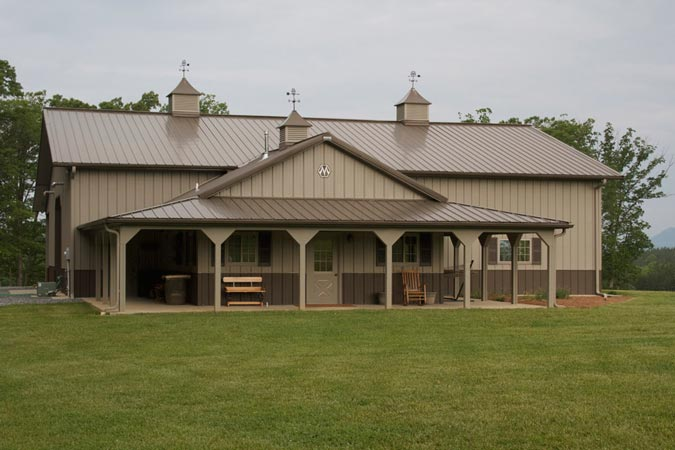 One of a kind metal building farm w porch kitch area for Steel barn house plans