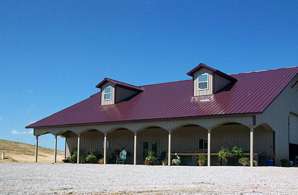 Great residential metal building home w shop awesome for Metal building farmhouse plans