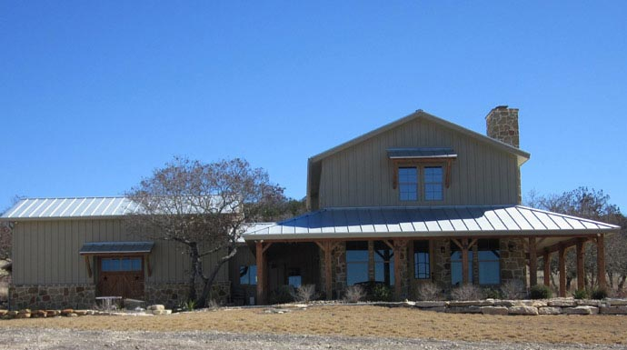 Lovely ranch home w wrap around porch in texas hq plans for Ranch style metal homes