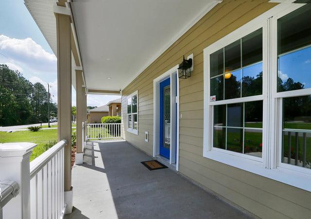 The spacious porch area