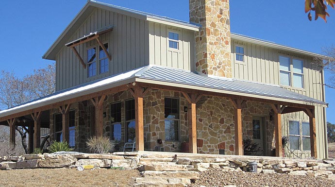 Lovely ranch home w wrap around porch in texas hq plans for Metal building for home