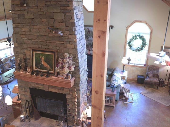 A fireplace at the center