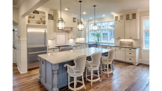 Spacious dining room with kitchen