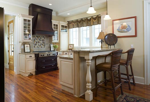 This classy kitchen area is textured to achieve a superior and classic feel