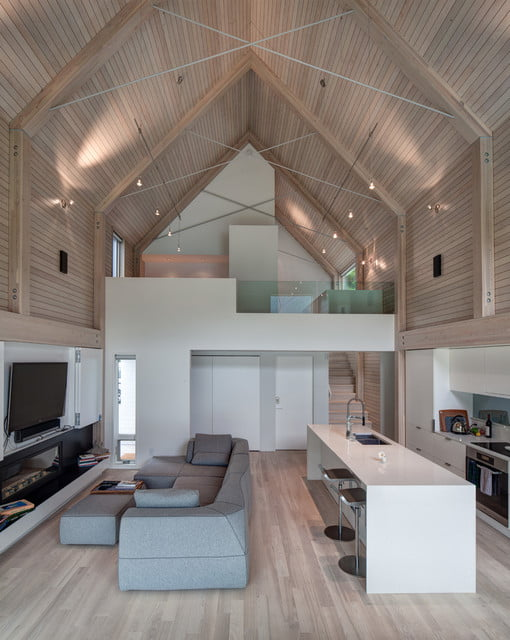Spacious Lakeside Metal Houses W Cosy Wooden Interior 9