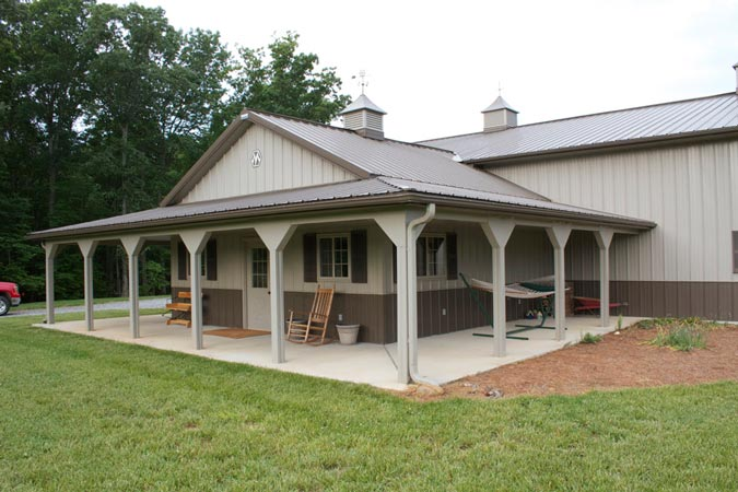 One of a kind metal building farm w porch kitch area for Metal home designs