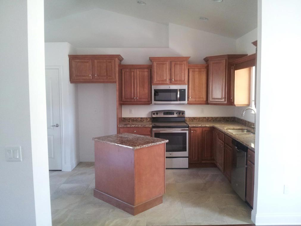 A display of kitchen cabinets of varying sizes