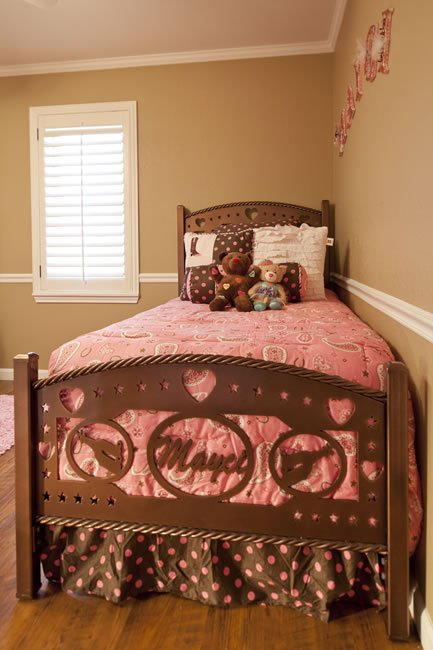 A freshly painted bed room with a flair