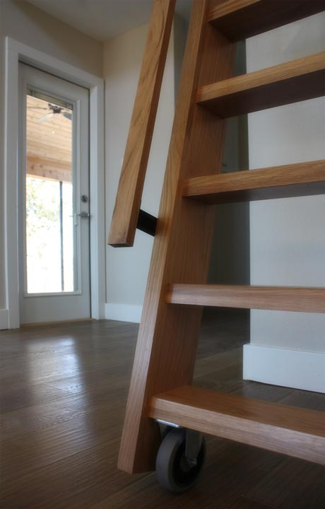 This stair is equipped with wheels for easy moving.