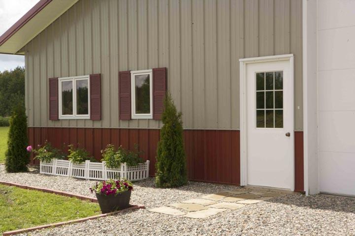 Front door and gravel surround
