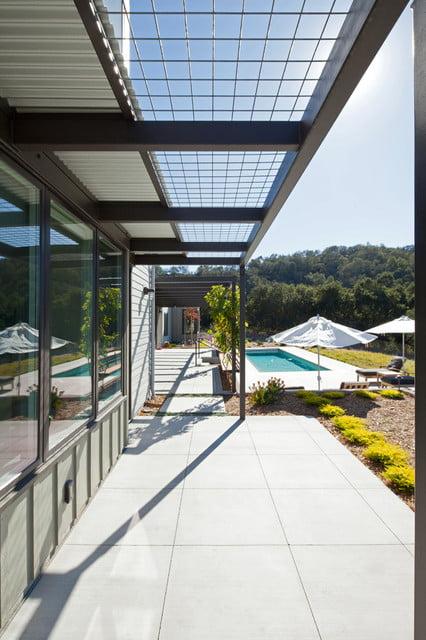 Sleek pool side lobby