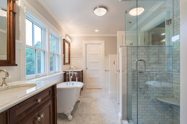 A long and wide bathroom space