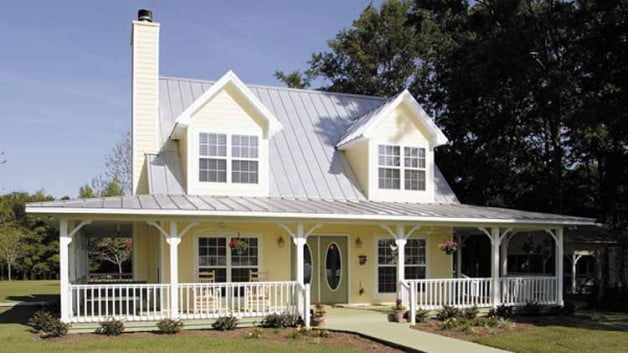 Beautiful country home w wrap around porch hq plans for Metal building farmhouse plans