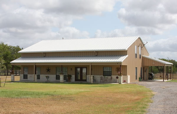 Beautiful full metal barndominium home w 3 porches hq Commercial building plans for sale