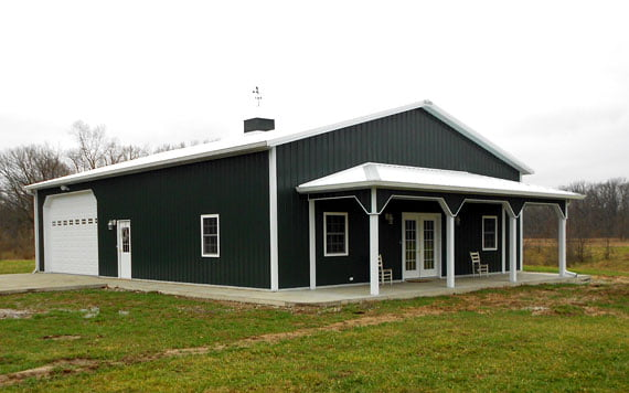 Bungalow - Oxford Blue finished Steel Home  with white trellises