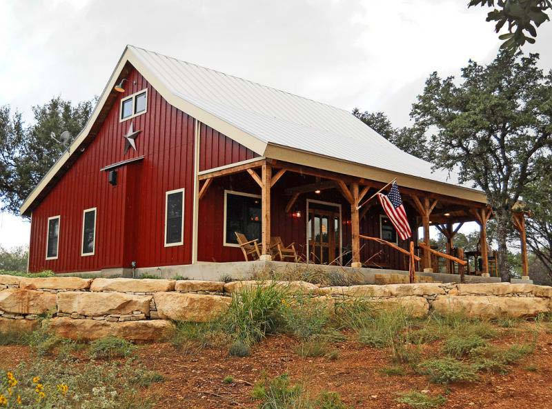 Country barn home kit w open porch 9 pictures metal for Metal building home designs