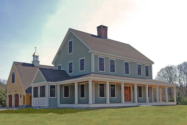 New england farmhouse w wrap around porch hq plans for Metal building farmhouse plans