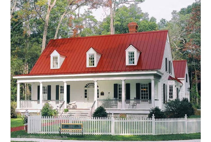 Elegant country farmhouse w lovely porch hq plans for Metal building farmhouse plans