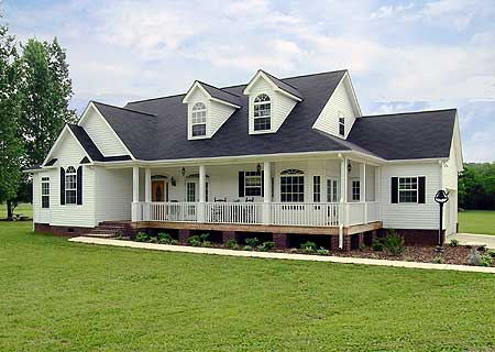 Traditional Style RanchFarmhouse W Wraparound Porch HQ Plans - Traditional Ranch Style Homes