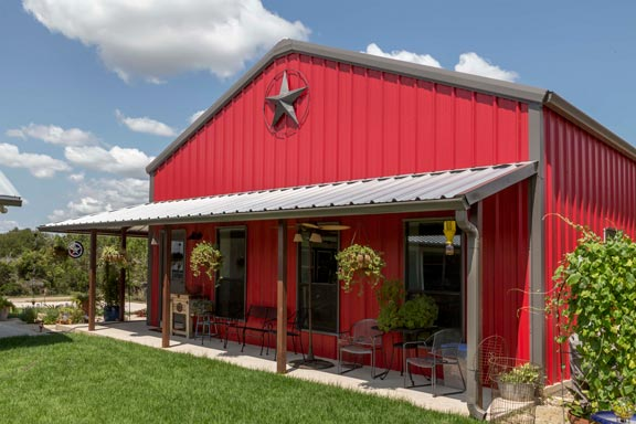 True american dream metal building barn home w wrap for Metal house plans with wrap around porch