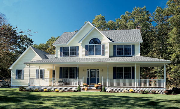 Country Style Farmhouse W Wrapping Porch Hq Plans