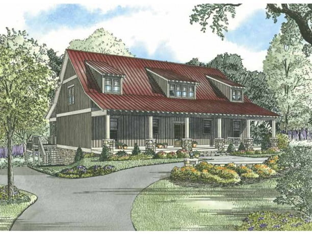 Beautiful rustic country home w super open layout hq for Metal building farmhouse plans