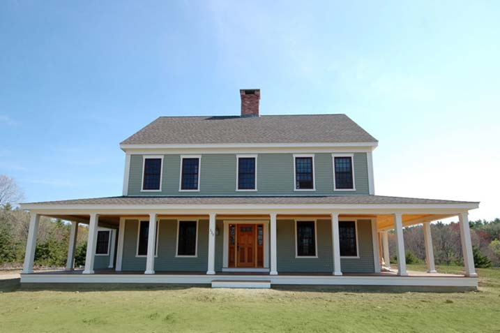 New england farmhouse w wrap around porch hq plans for Farmhouse style building plans