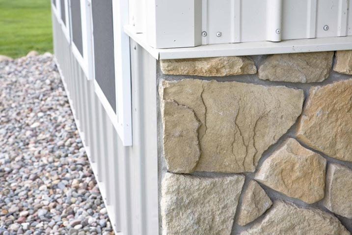 Stone wainscoting decorating the walls