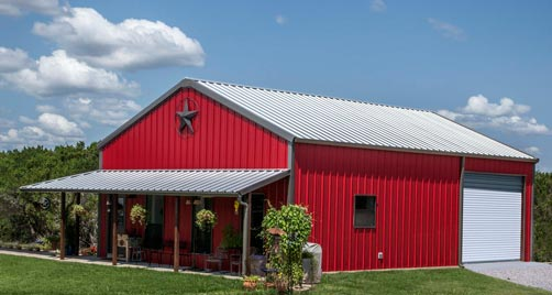 True american dream metal building barn home w wrap for Barn house plans with porches