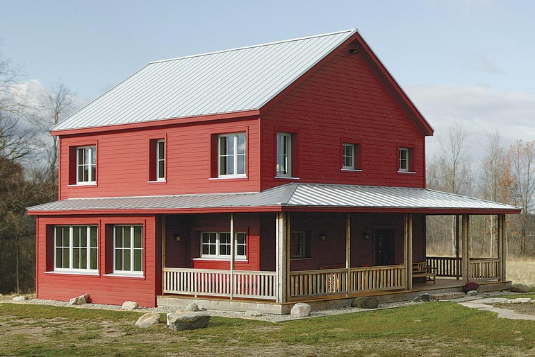 Super energy efficient prefab rural farmhouse hq plans for Two story metal building homes